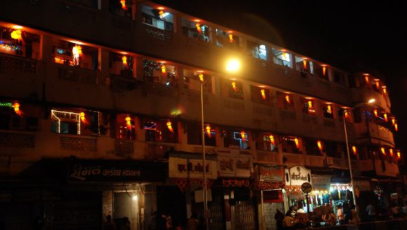 Colourful lanterns adorn a building in Mumbai