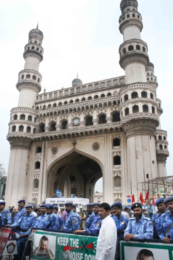 Security personnel deployed at Charminar in Hyderabad