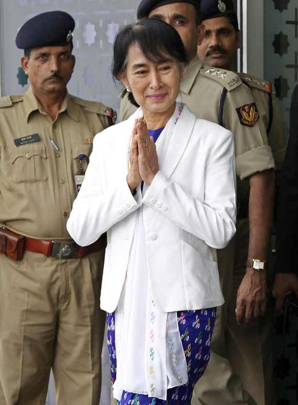 Aung San Suu Kyi arrives at the Indira Gandhi international airport in New Delhi