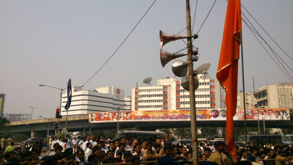 Loudspeakers were seen being mounted outside Matoshree on Thursday morning