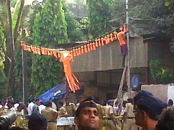 Diwali decorations were seen being pulled down outside Matoshree on Thursday morning