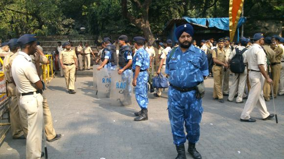 Heavy police and RAF deployment outside Matoshree on Thursday morning
