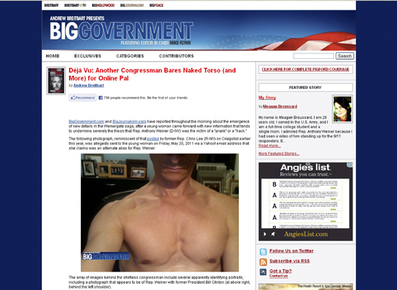 A screen grab of the website Biggovernment.com shows the photo of Anthony Weiner which was allegedly emailed to a young woman