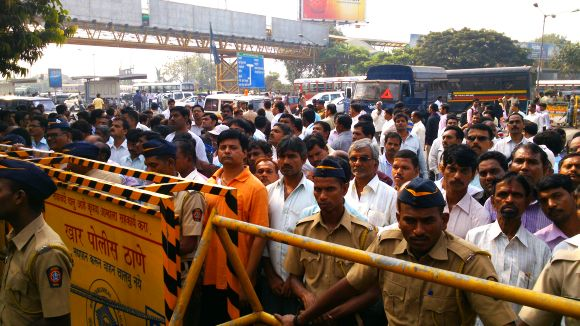 Huge crowds gather outside Matoshree on Thursday as security beefed up