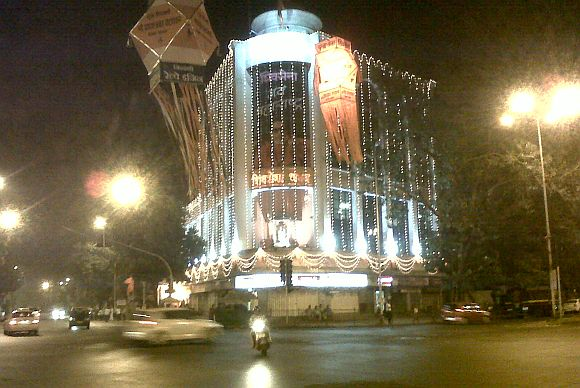 The sight at the Sena Bhavan