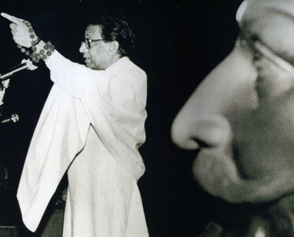 An archival photograph of Bal Thackeray addressing Shiv Sena supporters in Mumbai