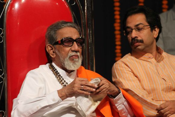 Bal Thackeray with son Uddhav Thackeray at a function in Mumbai earlier this year