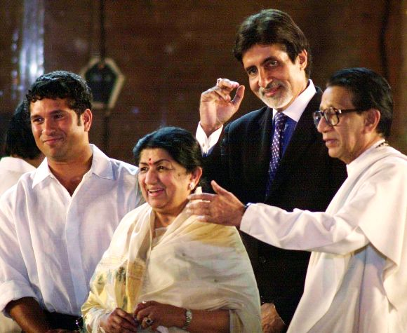 Bal Thackeray with Amitabh Bachchan, Lata Mangeshkar and Sachin Tendulkar at a function in Mumbai in this archival photo
