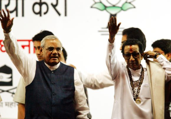 Bal Thackeray with former prime minister Atal Bihari Vajpayee addressing a campaign rally in Mumbai ahead of the 2004 elections.