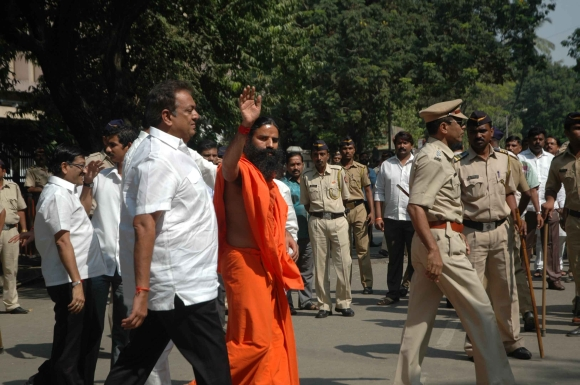 Baba Ramdev outside Matoshree