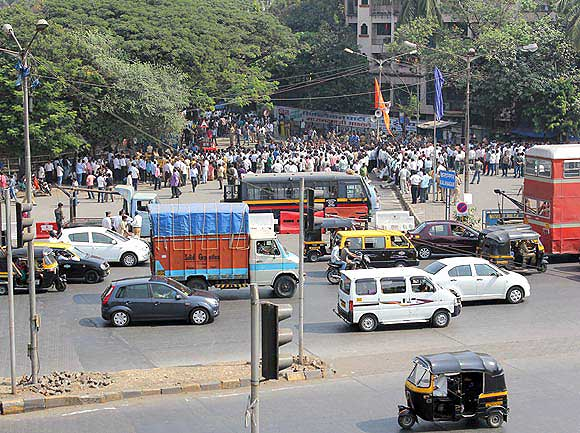 The crowds have halved outside Thackeray's residence