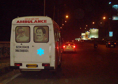 An ambulance with photographs of Bal Thackeray and son Uddhav
