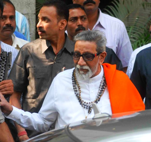 Archival picture of Balasaheb Thackeray leaving an eye clinic in Mumbai