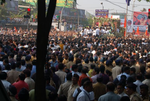 Thousands of Shiv sainiks raised their hands in praise of their departed leader.