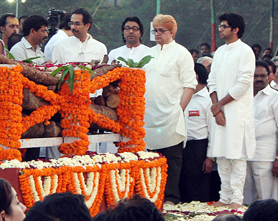 Uddhav, Raj, Jaidev and Aditya Thackeray at Balasaheb Thackeray's funeral last November.