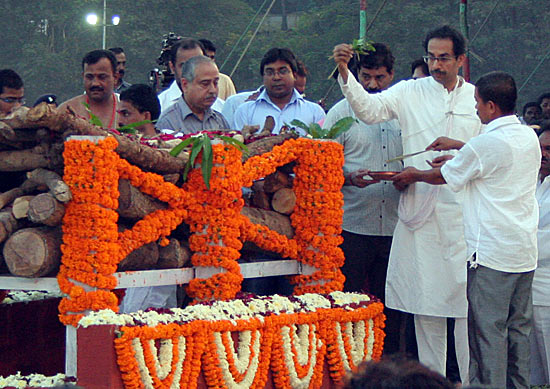 Uddhav at the funeral pyre