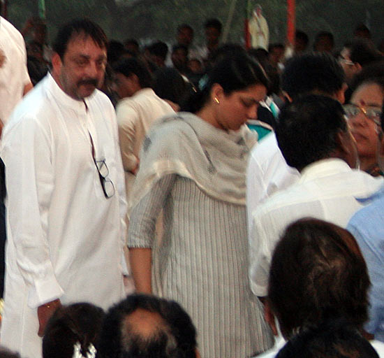 Film actor Sanjay Dutt with sister and Congress Member of Parliament Priya Dutt