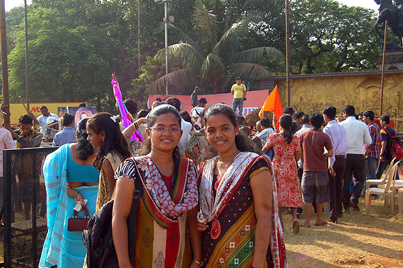 Pranita (left) and Pragati Thakur from Worli learnt about the Shiv Sena chief from their father, a life long Sena worker, who met Bal Thackeray on a photography assignment at Matoshree