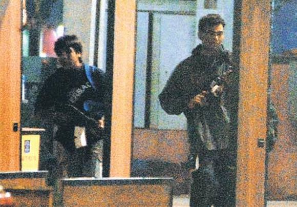 Terrorists Ajmal Kasab and Ismail Khan at Mumbai's Chhatrapati Shivaji Terminus during the 26/11 attacks