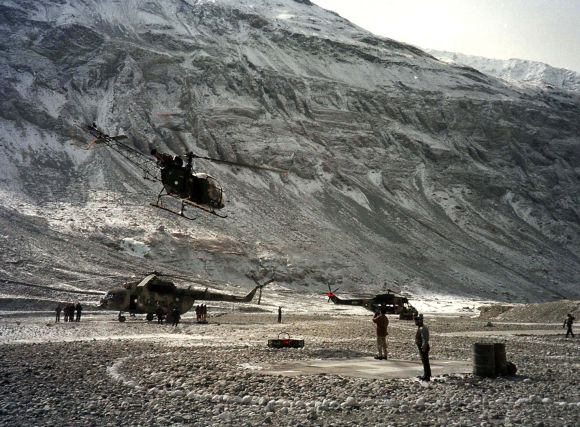 Pakistan military helicopters at the Siachen glacier