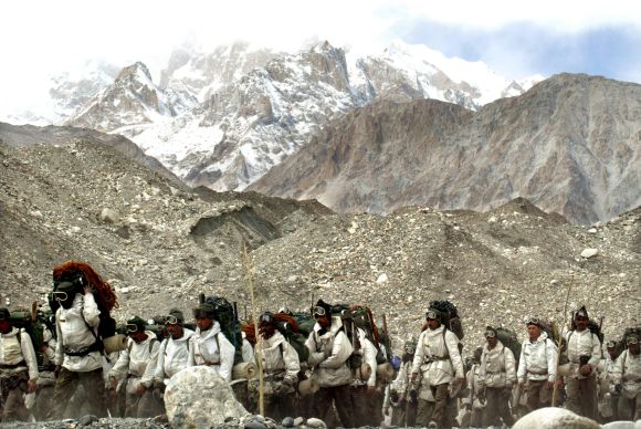 Indian troops at base camp after returning from training on the Siachen glacier