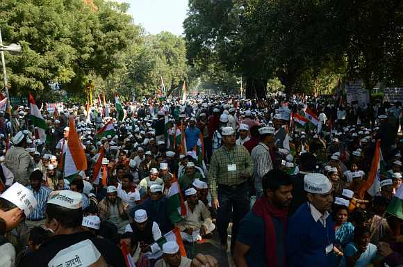 Show of strength at Aam Aadmi Party's first rally
