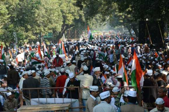 Supporters of Kejriwal at the party's first rally at Jantar Mantar