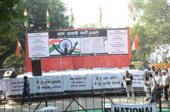 The stage at the rally in Jantar Mantar