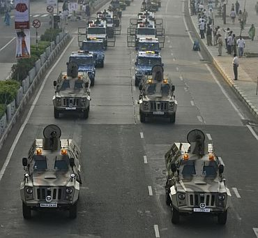The Mumbai police's Commando trucks, acquired after the 26/11 attacks.