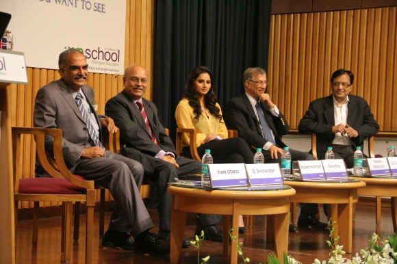 Former Mumbai police commissioner D Sivanandan, left, with prominent chartered accountant Shailesh Haribhakti, tennis star Sania Mirza-Malik, construction magnate Niranjan Hiranandani and AICTE Chairman S S Mantha at the event