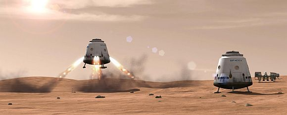 Artist's rendition of a Dragon spacecraft using its SuperDraco thrusters to land on Mars.