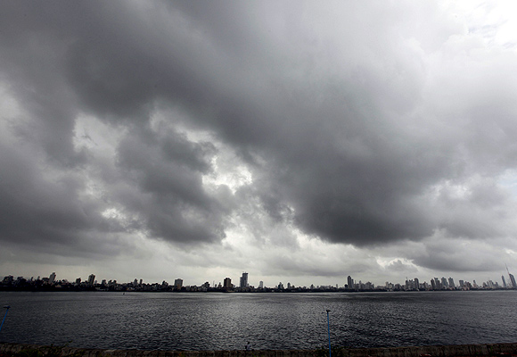 Monsoon clouds gather over the Mumbai skyline