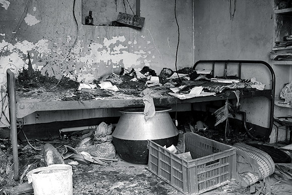 Comrade Maariappan's completely ransacked home in Kondampatti. Neither his Communist sympathies, nor his own intercaste marriage many years ago have gone down well with the Vanniyars