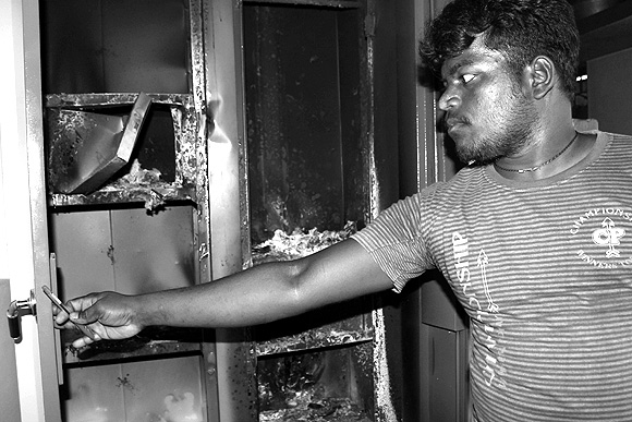 Sangeet Kumar, from Anna Nagar, Dharmapuri shows the bureau that once held all his educational certificates and all his savings towards his marriage
