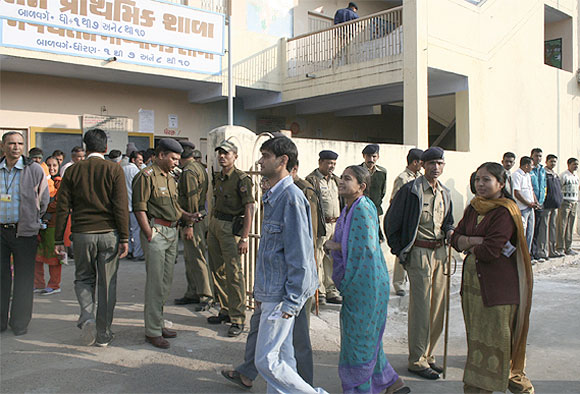 Voters at an election center in Ahmedabad