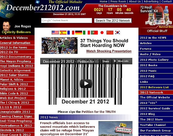 A screenshot of one of the numerous websites that have cropped up declaring the 'impending danger'