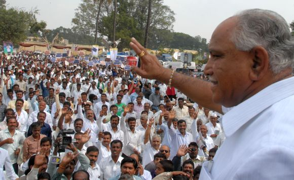 Yeddyurappa with his supporters