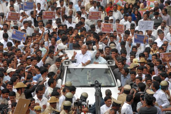 Yeddyurappa at a rally