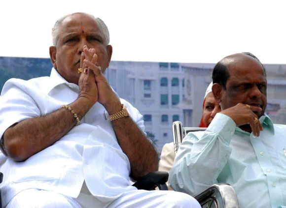 Yeddyurappa gestures during a rally in Bangalore on Friday where he formally broke ties with the BJP