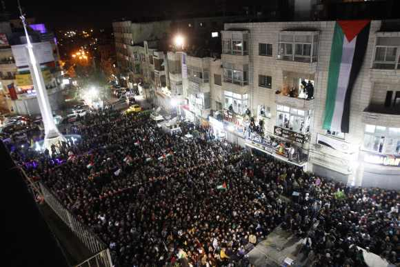 Palestinians take part in a rally in the West Bank city of Ramallah