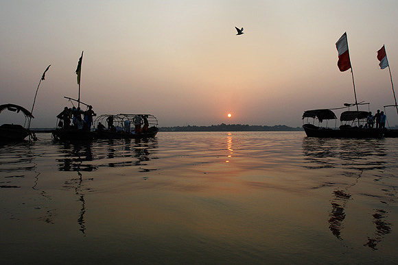 The Sangam at sunset. The Kumbh Mela is the largest religious gathering on earth