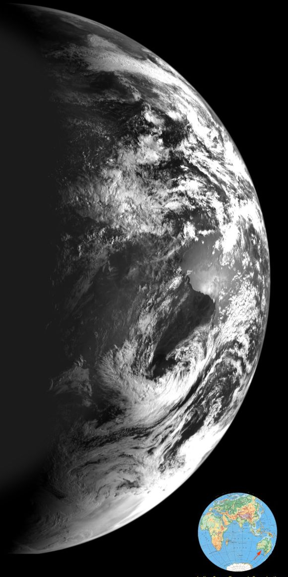 This image of the Earth was taken by ISRO's Chandrayaan-1 mission while on its way to the Moon on 29 October 2008