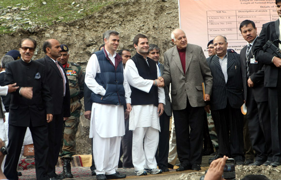 Rahul Gandhi with former chief minister of J&K Dr Farooq Abdullah
