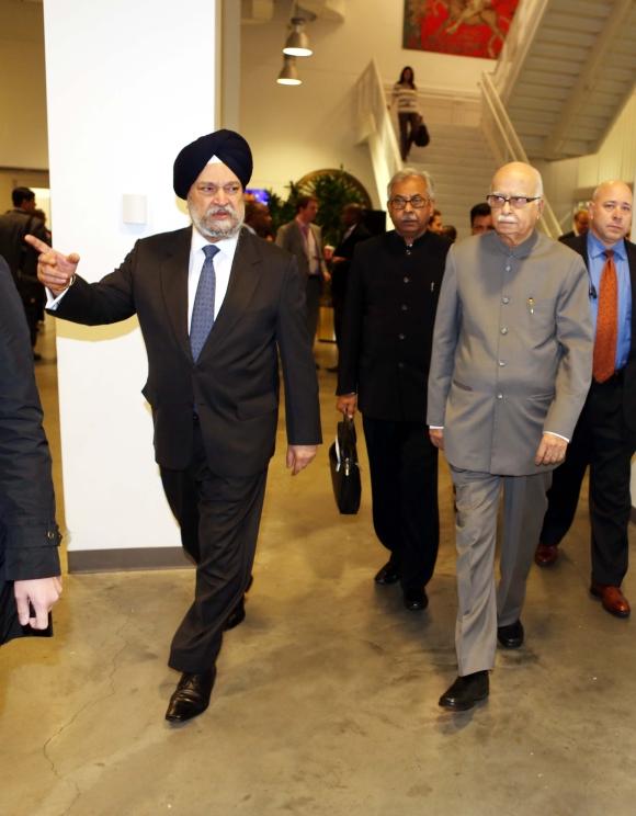 BJP leader L K Advani with UN Ambassador Hardeep Singh Puri