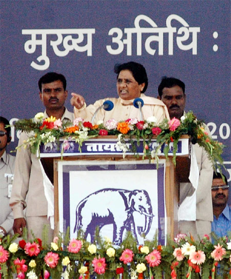BSP chief Mayawati addresses her supporters during a rally Rama Bai Ambedkar Maidan in Lucknow