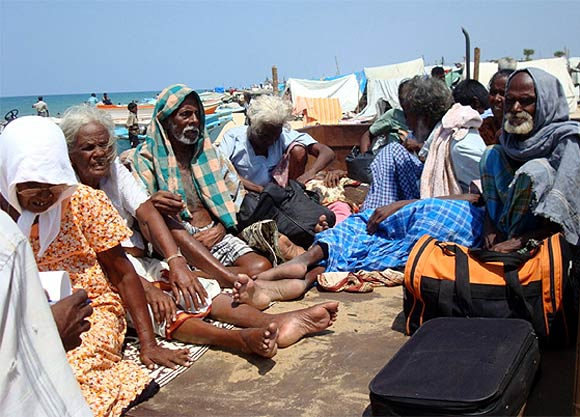 Injured civilians are seen in this photograph released by a pro-LTTE group, showing them being evacuated from the 'No Fire Zone' near Mullivaikkal village