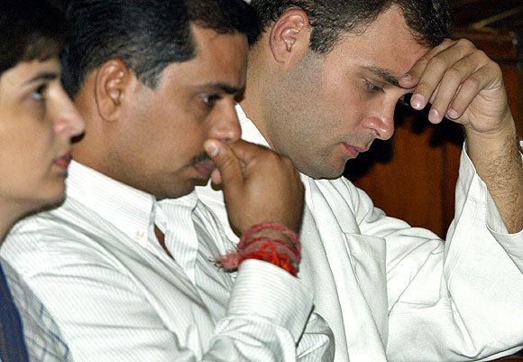 Robert Vadra with his wife Priyanka Gandhi and brother-in-law Rahul Gandhi
