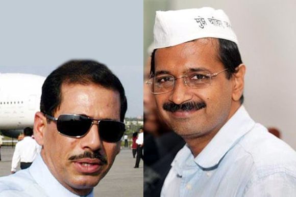 Congress chief Sonia Gandhi's son-in-law Robert Vadra and Arvind Kejriwal