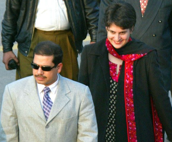 Robert Vadra with wife Priyanka Gandhi in New Delhi
