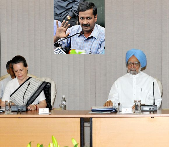 Prime Minister Manmohan Singh with Congress chief Sonai Gandhi at a UPA meet. (Inset) Arvind Kejriwal
